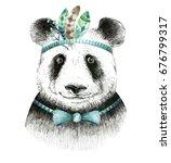 watercolor panda illustration.... | Shutterstock . vector #676799317