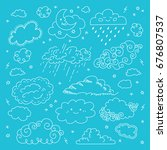 vector blue sky clouds hand... | Shutterstock .eps vector #676807537