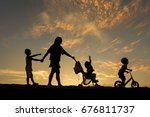 silhouette of happy family ... | Shutterstock . vector #676811737