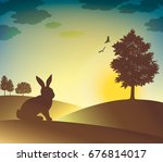 tree and hare silhouettes on...   Shutterstock . vector #676814017