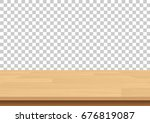 wood table top on isolated... | Shutterstock .eps vector #676819087