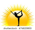 silhouette of woman practicing...   Shutterstock .eps vector #676820803