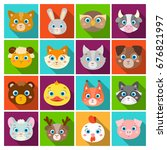 animal muzzle set icons in flat ... | Shutterstock . vector #676821997