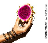 dragon fruit and bracelets... | Shutterstock . vector #676846813