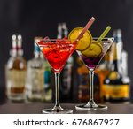 colorful drink on the... | Shutterstock . vector #676867927