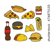 fast food doodle icons | Shutterstock .eps vector #676875133