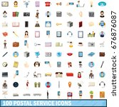 100 postal service icons set in ... | Shutterstock .eps vector #676876087