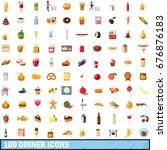 100 dinner icons set in cartoon ... | Shutterstock .eps vector #676876183
