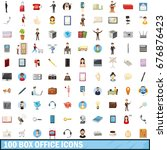 100 box office icons set in