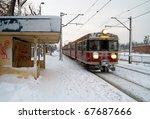 Polish Train Station At Winter...