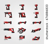 red modern cordless power tools ... | Shutterstock .eps vector #676886833