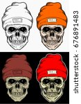Skull Winter Hat Hand Drawing...