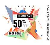 summer sale geometric style web ... | Shutterstock .eps vector #676957933