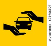 hand protects the car safe... | Shutterstock .eps vector #676966507