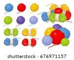 balls of thread  vector yarn.... | Shutterstock .eps vector #676971157