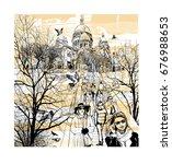 basilica sacre coeur at...   Shutterstock .eps vector #676988653