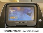 lcd monitor on passenger seat ... | Shutterstock . vector #677011063