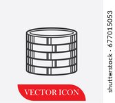 coin stack vector icon. flat...