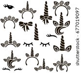 unicorn symbols vector set.  | Shutterstock .eps vector #677019097