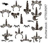 Unicorn Symbols Vector Set.