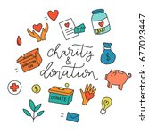 charity and donation. hand... | Shutterstock .eps vector #677023447