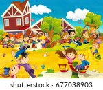 cartoon scene with kids on the... | Shutterstock . vector #677038903