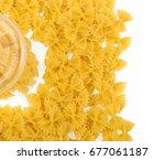 uncooked italian farfalle pasta ... | Shutterstock . vector #677061187