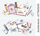 illustration of a student desk...   Shutterstock .eps vector #677065633