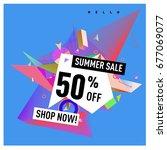 summer sale geometric style web ... | Shutterstock .eps vector #677069077