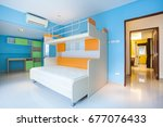 color full bedroom  with ... | Shutterstock . vector #677076433