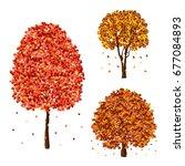 vector autumn fall trees design ... | Shutterstock .eps vector #677084893