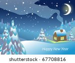 landscape with house in winter. ... | Shutterstock .eps vector #67708816