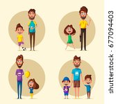 happy family. cartoon vector... | Shutterstock .eps vector #677094403