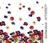 floral horizontal border.... | Shutterstock . vector #677105077