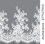seamless vector white lace... | Shutterstock .eps vector #677127013