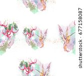 watercolor pattern with flower...   Shutterstock . vector #677158087