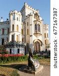 Small photo of HLUBOKA NAD VLTAVOU, CZECH REPUBLIC - JULY 6, 2017: Beautiful white renaissance castle castle Hluboka nad Vltavou in Czech Republic, July 6. 2017