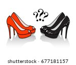 pair of high heel shoes with...   Shutterstock .eps vector #677181157
