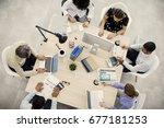 businesspeople working  in... | Shutterstock . vector #677181253