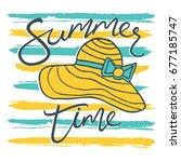 beach hat. summer time. | Shutterstock .eps vector #677185747