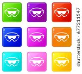 safety glasses icons of 9 color ... | Shutterstock .eps vector #677211547