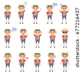 set of tourist characters... | Shutterstock .eps vector #677216437