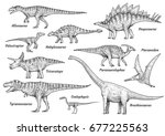 dinosaur collection ... | Shutterstock .eps vector #677225563