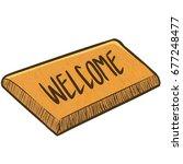 funny brown doormat in cartoon... | Shutterstock .eps vector #677248477