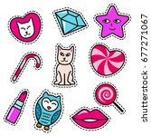 fashion patch badges with lips  ... | Shutterstock .eps vector #677271067