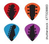 guitar headstock in guitar pick ... | Shutterstock .eps vector #677328883