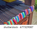 colorful putters at miniature... | Shutterstock . vector #677329087