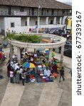 Small photo of GUATEMALA - July 30, 2011- Concrete structure adorn central park of Coban Alta Verapaz in Guatemala, commerce and culture. EDITORIAL.