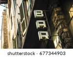 bar text on a wall. it is bar... | Shutterstock . vector #677344903