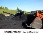 excavator  digging coal ... | Shutterstock . vector #677352817